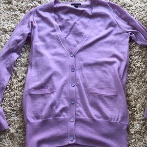 J CREW purple v neck cardigan